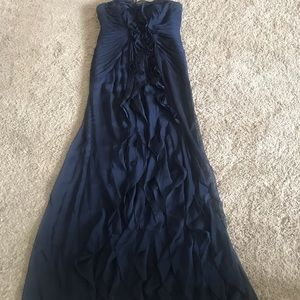 Navy Blue Strapless formal gown
